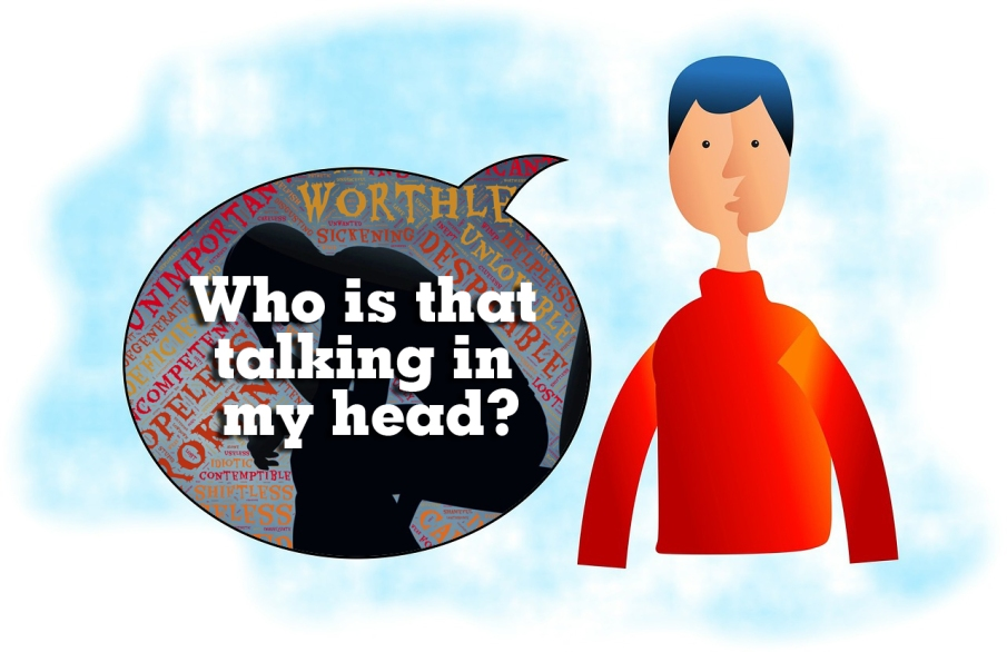 Cartoon man - who is that talking in my head copy