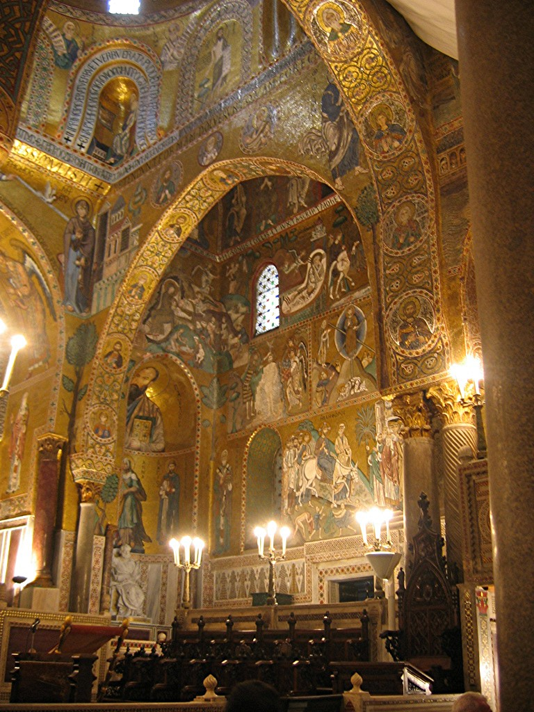 gold-inlaid mosaic in Chapelle_Palatine, Palermo, Sicily