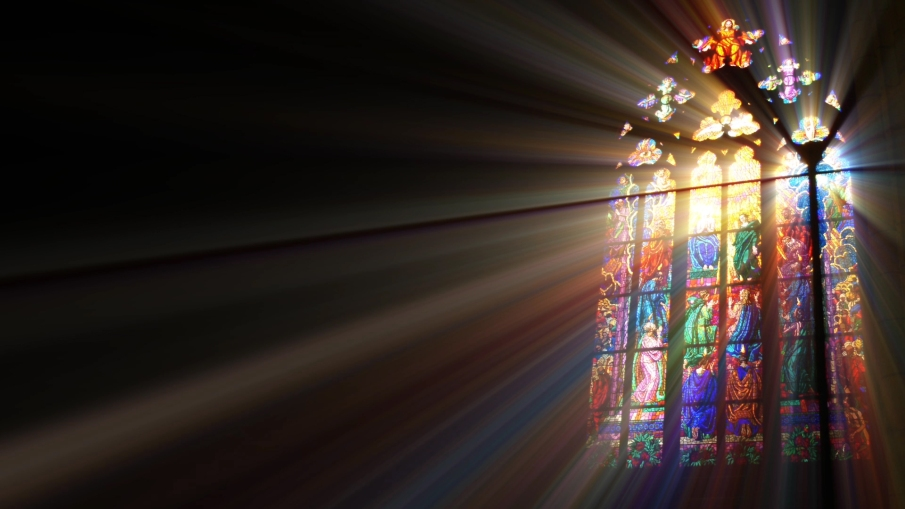 light streaming through stained glass