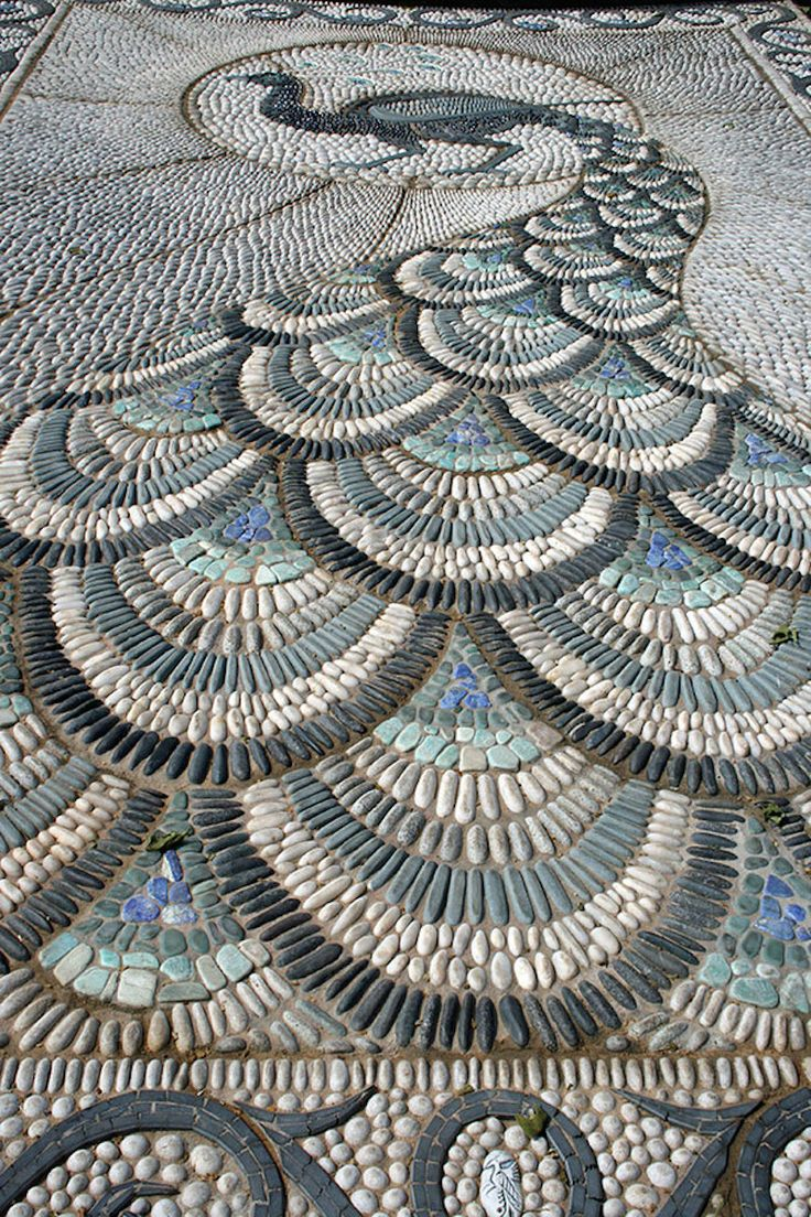 peacock pebble mosaic sidewalk
